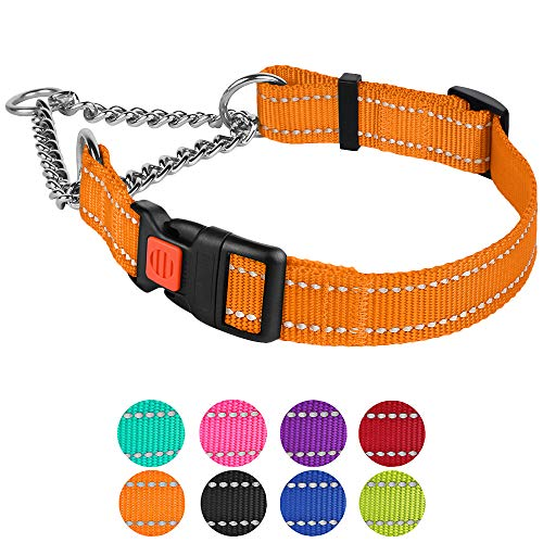 Reflective dog collar CollarDirect marmarra collars with side release buckle for training adjustable choking collars for petsCollarDirect S, Neck Size 12'-15 'orange