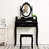 Unihome Black Vanity Table with Mirror and Stool Black Bedroom Black Dressing Table with 4 Drawers Small Makeup Table for Women