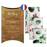 Halton PSC Bee Wrap | Lot de 3 Emballages Cire d'Abeille | Emballage Alimentaire écologique et Réutilisable | 100% Bio et Naturel