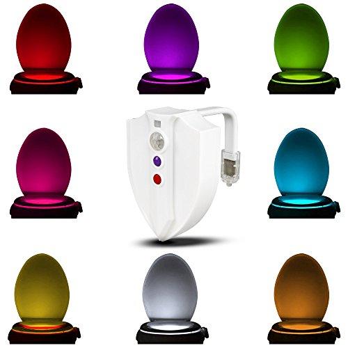 Gobesty Luce WC Lampada WC Notturna, 8 Colori LED Lampada Notturne de WC con Luce di Disinfezione a...