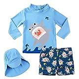 Garçons Maillots de Bain, Enfants Costume de Natation 3-Pièces Anti-UV T-Shirt et Shorts de Bain et Bonnet