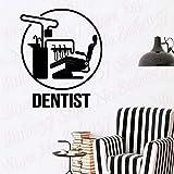 wZUN Cartel de Silla de clínica, Cartel de Dentista, Pegatina de Pared, Dientes, estomatología, Mural de Dientes, Pegatina de Vinilo 42X51cm