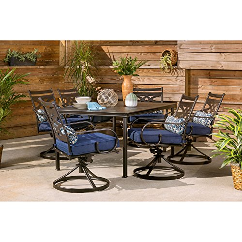 Hanover Montclair 7-Piece All-Weather Outdoor Patio Dining Set, 6 Swivel Rocker Chairs with Comfortable Navy Seat and Lumbar Cushions, 40'x66' Stamped Rectangle Table, MCLRDN7PCSQSW6-NVY