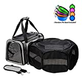 Coopeter Luxury Soft-Sided Pet Carrier Expandable,Pet Travel Carrier for Dog & Cat (Playpen for pet Carrier, Grey)