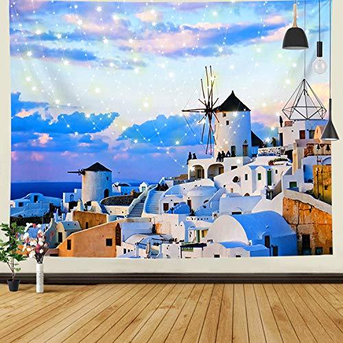 JOLIGAEA Paesaggio Naturale Verniciato HD Arazzo,Santorini Grecia Case Bianche Architettura Natura Paesaggio Arazzi,Mar Egeo Grande Arazzo da Parete,Decorazione Domestica,150x130 cm