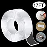 Nano Double Sided Tape Heavy Duty Mounting Tape, Multipurpose Reusable Traceless Strong Adhesive Carpet Mat Washable Removable Clear Anti Slip Fix Rug Tape Gel Grip Tape for Home Office Car, 17 FT