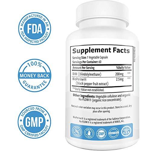 DIM Supplement 200mg - DIM Diindolylmethane Plus BioPerine 60-Day Supply of DIM for Estrogen Balance, Hormone Menopause Relief, Acne Treatment, PCOS, Bodybuilding 3