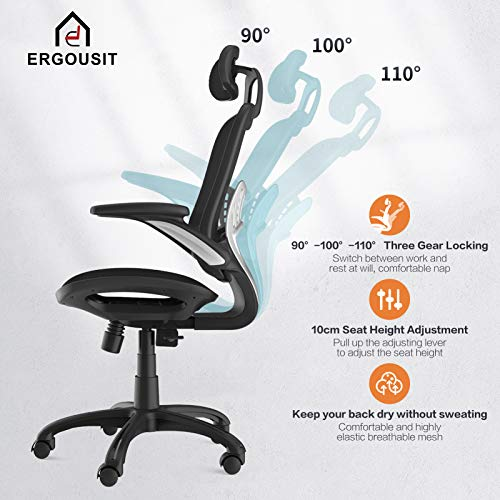 Product Image 4: Komene Home Office Chair - Ergonomic Desk Chair high Back Mesh Computer Chair with Lumbar Support & with Headrest, Thick Seat Cushion Recline Chair Swivel Task Chair