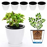 DeElf 6 Pack 6.7' Self Watering Planter Wicking Pots for Plants Indoor Golden Devil's Ivy, African Violet, Ocean Spider Plant, Orchid, White Color