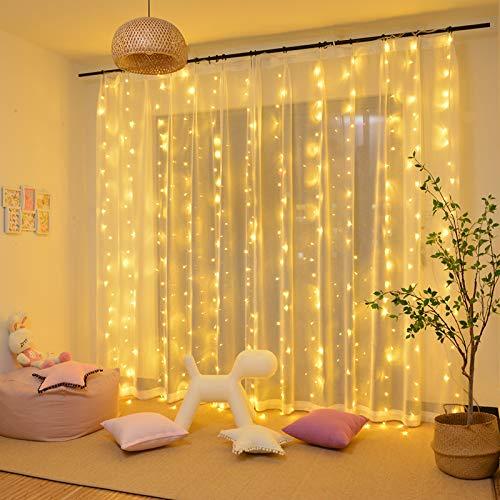 Tenda Luci LED 3 x 3 m, Tenda Luminosa Natale Esterno Impermeabilit IP44 Tenda Luminosa con Telecomando 8 Modalit di Illuminazione per Natale, Interno, Camera da Letto, Giardino(Bianco Caldo)