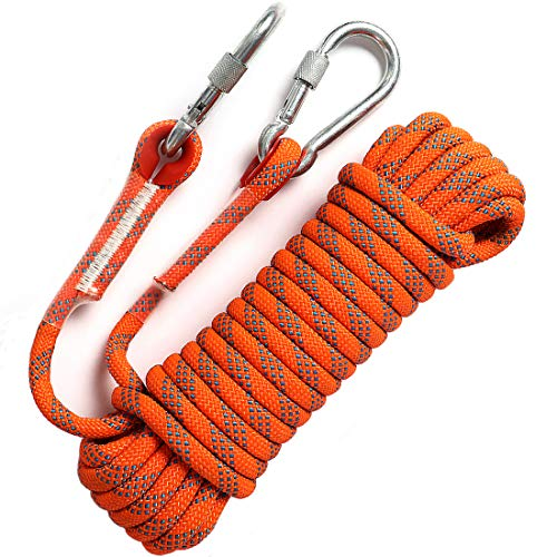 GINEE Outdoor 10mm Static Orange Rock Climbing Rope 35FT with...