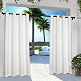 Exclusive Home Curtains Indoor/Outdoor Solid Cabana Grommet Top Curtain Panel Pair, 54x84, White, 2 Piece