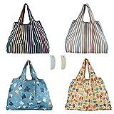 Yartmon Lot de 4 sacs à provisions pliables en tissu imprimé 58 x 68 cm - Respectueux de l'environnement et étanche - Lavables et solides - Légers avec 2...