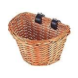 A0ZBZ Wicker Front Handlebar Bike Basket, Hand-Woven Folk Craftsmanship Bicycle Handlebar Storage Basket with Leather Straps (M, D Shape)