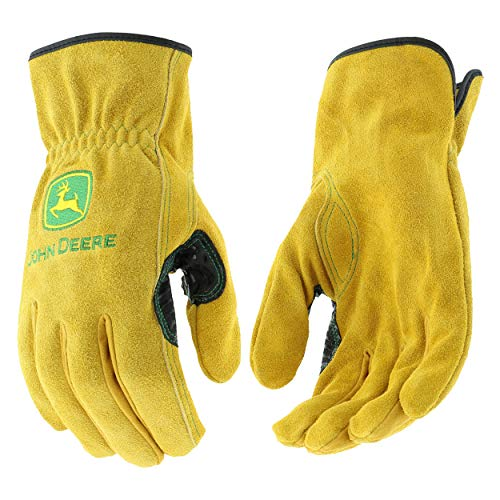 John Deere JD00004 M Split Cowhide Leather Gloves, Medium, Tan (1 pair)