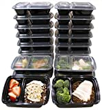 [20 Pack] 32 Oz. 2 Compartment Food Containers Durable BPA Free Plastic Reusable Food Storage Container Microwave & Dishwasher Safe w/Airtight Lid For Portion Control & 21 Day Fix (Kitchen)