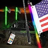 4FT LED Whip Lights, Niking Auto 2Pcs Smoked Black Lighted Whips with Remote Control RGB Dancing/Chasing Antenna LED Whips for UTV ATV RZR Polaris Off Road Trucks Buggy Dune Sand Can-am Boat