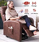 ERGOREAL Electric Lift Chair for Elderly Infinite Position Power Lift Recliner with Heat and Massage Textured Suede Lift Recliners with USB Port and Side Pocket(Choco)