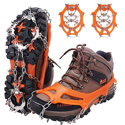 WIN.MAX Steigeisen Grödel Eisspikes,Schuhkrallen mit19 Edelstahl Zähne Spikes,Schuhkrallen,Grödeln Eisspikes,für Klettern Bergsteigen Trekking High Altitude Winter Outdoor(Orange, XL)