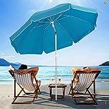 SERWALL 6.5FT Beach Umbrella UV 50+ Outdoor Portable Sunshade Umbrella with Sand Anchor, Push Button Tilt and Carry Bag for Patio Outdoor Garden Beach (Sky Blue)