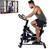 Exerpeutic LX 3000 MyCloudFtiness Connected Indoor Cycling Exercise Bike with Phone/Tablet Holder (4210), Black/Blue