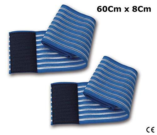 2 fasce elastiche blu universali regolazione a strappo lunghezza 60Cm per elettrodi...