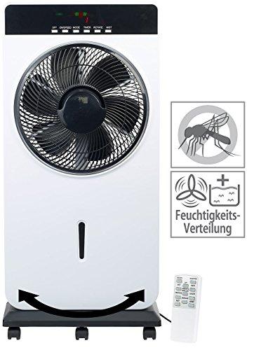 Sichler Haushaltsgeräte Kühlgerät: Sprühnebel-Standventilator, Anti-Insekten, MP3-Player, 90 W, Ø 30 cm (Ventilator mit Luftbefeuchter)