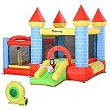 Outsunny Castello Gonfiabile Gigante e Rimbalzante per Bambini 3-12 Anni con Scivolo, Piscina e Canestro, 3x2.75x2.1m
