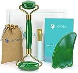 Rodillo de Jade Verde, Gua Sha y Pincel - Set de Masaje Facial en Piedra 100% Natural - Masajeador...
