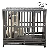 SMONTER 42' Heavy Duty Strong Metal Dog Cage Pet Kennel Crate Playpen Wheels,I Shape, Silver … …