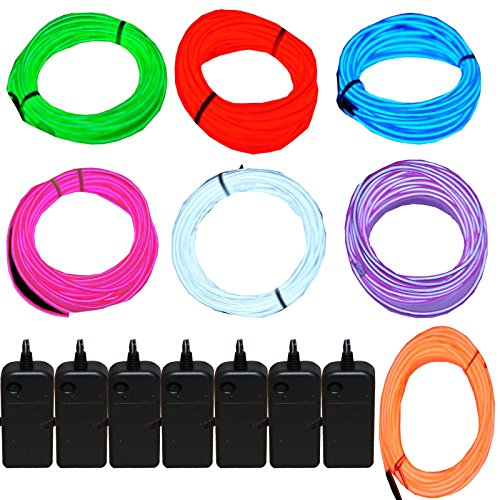 7 Pack - Jytrend 9ft Neon Light El Wire w/ Battery Pack (Green,...