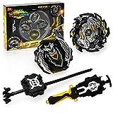 Toyuma Bey Battle Tops Metal Fusion Burst Turbo Gyro Evolution Set with 4D Launcher Grip and Stadium-Black