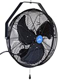 iLIVING Wall Mounted Variable 18 Inches Speed Indoor/Outdoor Weatherproof Fan, Industrial grade for Patio, Greenhouse, Garage, Workshop, and Loading Dock, 6360 CFM, Black