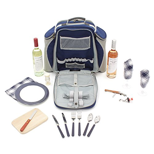 Greenfield Collection Deluxe Picnic Backpack Hamper For Two People in Midnight Blue - Fitted Backpack Range