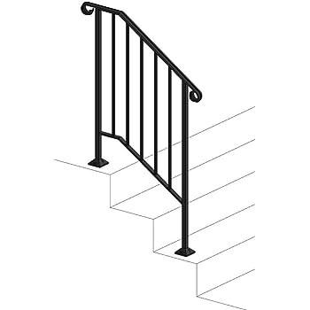 Iron X Handrail Picket 2 Concrete Steps Amazon Com | Handrails For Concrete Steps Lowes | Vinyl | Double Wide | Portable | Century Concrete | Interior