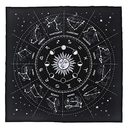 Mona43Henry Mantel de Tarot, Mantel de Tarjeta de constelación de adivinación, 50 X 50 cm Mantel de adivinación de Tarot Universal de Waite