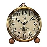 Maxspace Metal Golden Table Clock, Retro Vintage Non-Ticking Small Alarm Clock,Battery Operated Silent Quartz Movement HD Glass Desk Clock for Bedroom Living Room Indoor Decoration Kids (Arabic)