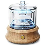 Glass Essential Oil Diffuser Humidifier, Glass Water Tank [ Plastic Free] Real Wood Base, Waterless Auto Shut-Off 7 Colors Lights Aroma Diffusers for Bedroom Home Room Office Yoga Mom Wife Gift 80 ML