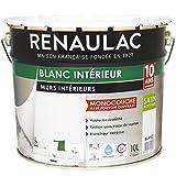 Renaulac Peinture intérieur Murs & Plafonds Monocouche Acrylique Blanc Satin 10L -...