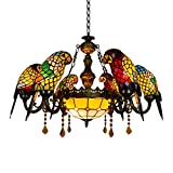 LITFAD Parrot Tiffany Crystal Chandeliers 6 Heads Pendant Lighting Stained Glass LED Ceiling Hanging Light Fixtures Pendant Lamp for Living Room Bedroom Hotel Bar