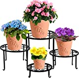 yosager 4 Pack Metal Plant Stands for Flower Pot, Heavy Duty Potted Holder, Indoor Outdoor Metal Rustproof Iron Garden Container Round Supports Rack for Planter
