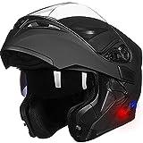ILM Bluetooth Motorcycle Helmet Modular Flip up Full Face Dual Visor Mp3 Intercom FM Radio DOT Approved (Matte Black, L)