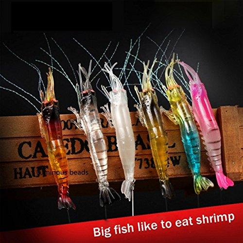 6 esche luminose a forma di gamberetto, in morbido silicone artificiale, 9,4cm, di colore misto, con gancio, ruotanti, per pesca della trota, salmone, spigola, in acqua dolce e salata