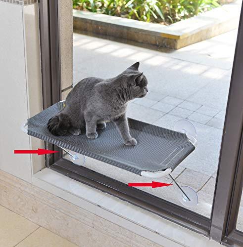 LSAIFATER Trespolo Gatto da Finestra Supporto Basso di Sicurezza in Ferro Prendisole 360 Amaca Sedile da Finestra per tutti i Gatti (L, grigio)