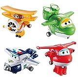 Alpha Animation & Toys 4Pk Super Wings Transform-A-Bots (Jett/Mira Aul/Grand Albert) Plane, multicolor, Talla Única (Alpha Animation Toys YW710610) , color/modelo surtido