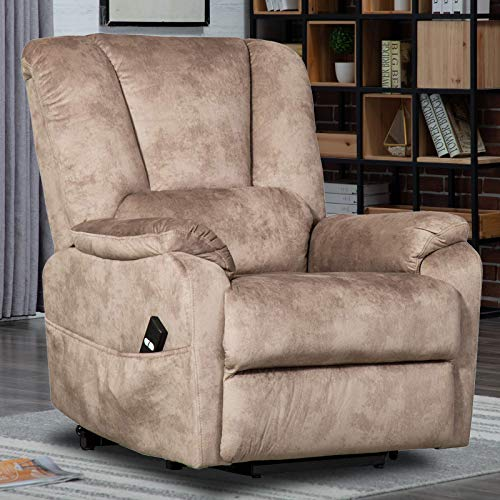 CANMOV Power Lift Recliner Chair for Elderly- Heavy Duty and Safety Motion Reclining Mechanism-Antiskid Fabric Sofa Living Room Chair, Camel