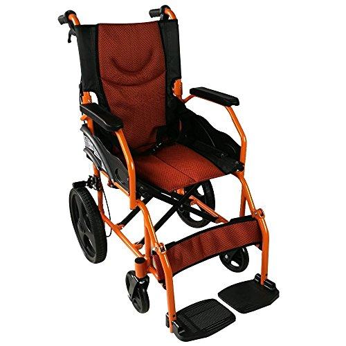 Mobiclinic, Marca Española, Modelo Pirámide, Silla de ruedas ortopédica, asiento de 41 cm, para minuválidos, plegable, de aluminio, freno en manetas, reposapiés, reposabrazos, color naranja