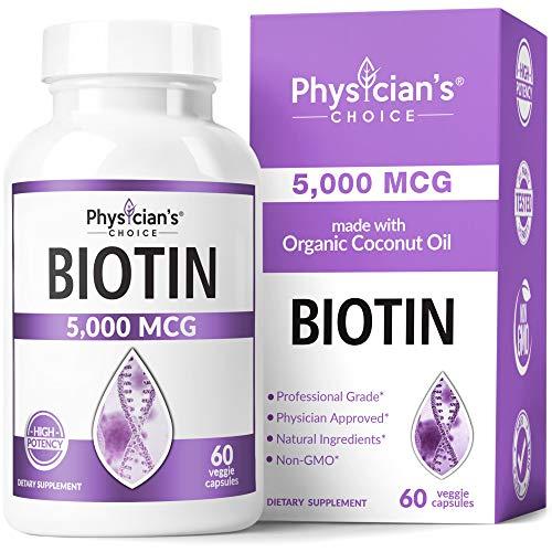 Biotin 5000 MCG - Vitamin B7 with Coconut Oil - Natural Biotin Supplement for Hair Growth, Nail & Skin Health - Vegan & Non-GMO - Skin, Hair and Nail Vitamins - 60 Capsules 1