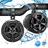 "4"" Waterproof Off-Road Bluetooth Speakers - 800W Power w/ Amplified Speaker System for ATV/UTV, Aux (3.5mm) Input Jack, Marine Grade Weatherproof, Great for Use w/ all 12V Vehicles - Pyle PLUTV43BTA"