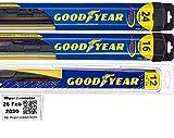 Windshield Wiper Blade Set/Kit/Bundle for 2006-2012 Toyota RAV4 - Driver, Passenger Blade & Rear Blade & Reminder Sticker (Hybrid with Goodyear Rear)